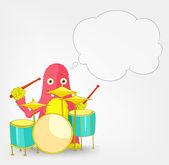 Funny Monster. Drummer. — Stock Vector