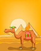 Cartoon Nature Landscape Pyramids of Egypt — Stock Vector