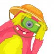 Funny Monster. Tourist Photographer. — Imagen vectorial