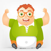 Cheerful Chubby Man — Stock Vector