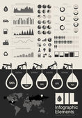 Elementos de aceite industrial infografía — Vector de stock