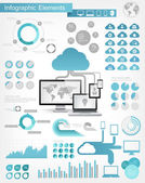 Cloud Service Infographic Elements — Vettoriale Stock