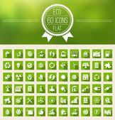 Ecology Flat Icon Set — ストックベクタ