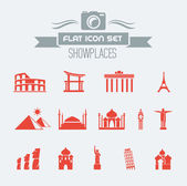 Landmarks Flat Icon Set — Stock Vector