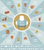 Modèle infographique Fastfood. — Vecteur