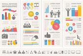 Mídias sociais modelo infográfico. — Vetor de Stock