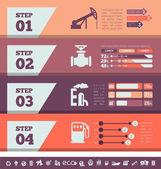 Industria del petróleo plantilla de infografía — Vector de stock