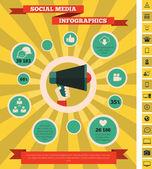 Mídias sociais modelo infográfico. — Vetorial Stock