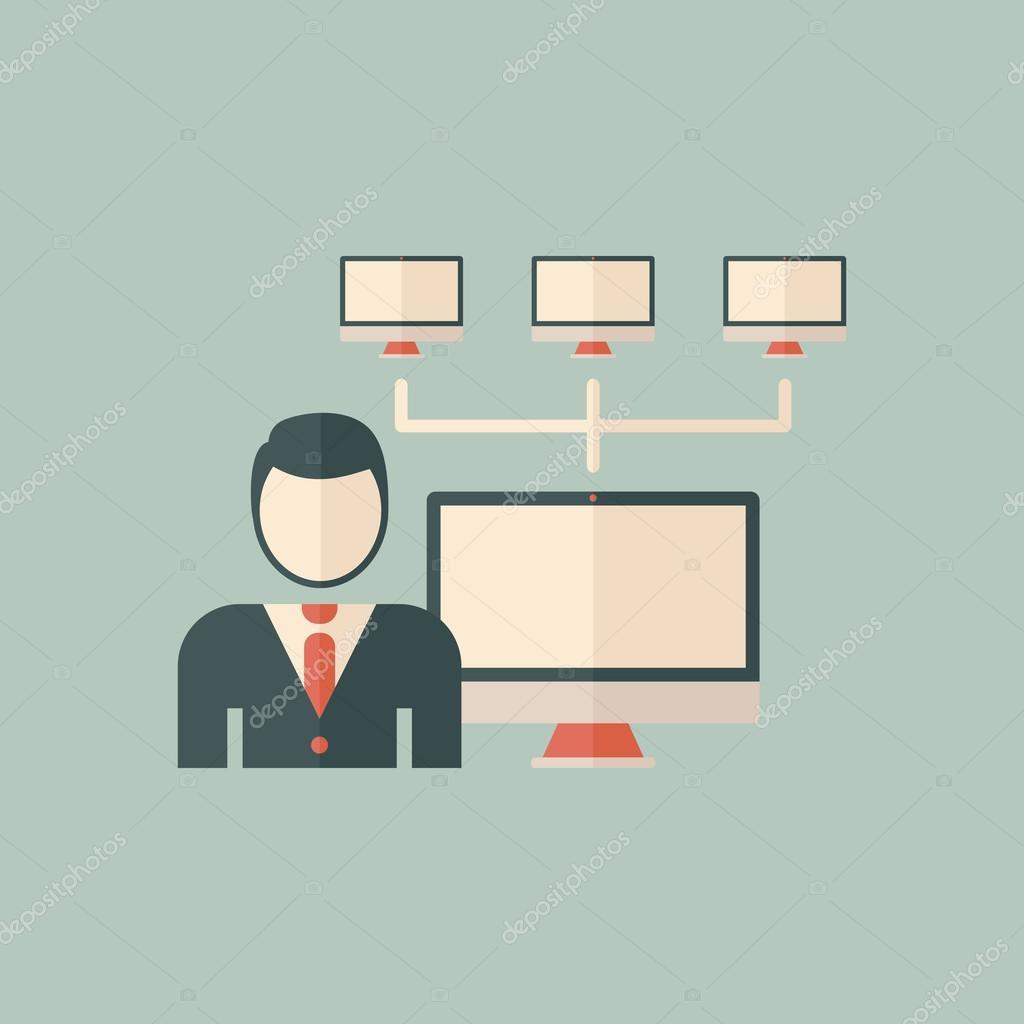 ... плоский значок – Векторная картинка: ru.depositphotos.com/51498141/stock-illustration-administrator-flat...
