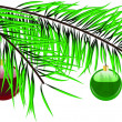 Ball hanging on a green christmas tree branch isolated on white — Stock Vector