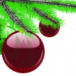 Royalty-Free Stock ベクターイメージ: Ball hanging on a green christmas tree branch isolated on white
