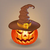 Sly pumpkin in a witch hat for Halloween — Stock Vector