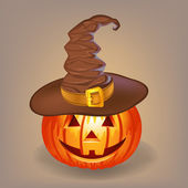Good pumpkin in a witch hat for Halloween — Stock Vector
