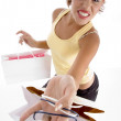 Smiling female with holding carry bags — Stock Photo #1661180