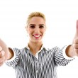 Portrait of female with thumbs up — Stock Photo #1675170