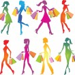 Stock Vector: Shopping girls silhouettes