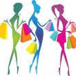 Shopping girls silhouettes — Stock Vector #15529021