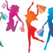 Shopping girls silhouettes — Stock Vector
