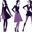 Fashion girls silhouettes — Stock Vector