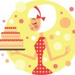 Girl with cake — Stock Vector