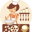 Young girl making cookies — Stock Vector
