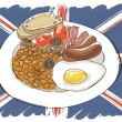 Full English breakfast — Stock Vector