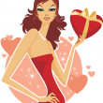 Girl holding a heart present box — Stock Vector