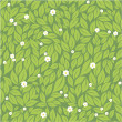 Green leaves and white flowers seamless pattern — Stock Vector