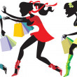 Shopping girls — Stock Vector #31202675