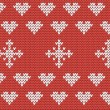 Knitted hearts and snowflakes seamless pattern — Stock Vector