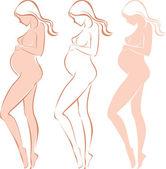 Gravida kvinnliga siluett — Stockvektor