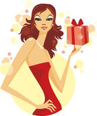 Woman with Gift — Stock Vector