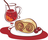 Mulled wine and strudel — Stock Vector