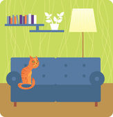 Obývací pokoj interiér — Stock vektor