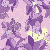 Iris flower seamless pattern — Stock Vector