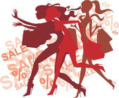 Crazy shopping girls silhouettes — Stock Vector