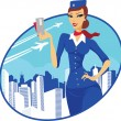 Stock Vector: Flight attendant