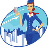 Flight attendant — Stock Vector
