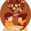 Stock Vector: Young couple enjoying coffee together