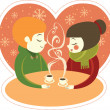 Young couple enjoying coffee together — Stock Vector #34870193