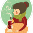 Girl enjoying hot wine — Stock Vector