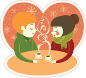 Young couple enjoying coffee together — Stock Vector