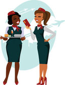 Air hostesses ready to fly — Stock Vector