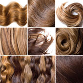 Natural human hair collage — Stock Photo