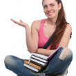 Royalty-Free Stock Photo: Beautiful student girl sitting with books