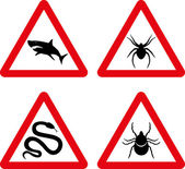 Tick, snake, shark and spider warning signs — Stock Vector