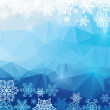 Vector abstract polygonal background with snowflakes — Stock Vector