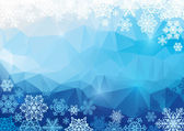 Vector abstract polygonal background with snowflakes — Stock vektor