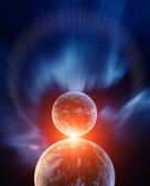 Planets with Sunrise and Background Nebula — Stock Photo
