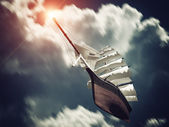 Galleon floating on Clouds — Stock Photo